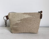 handwoven zipper pouch | coffee and cream