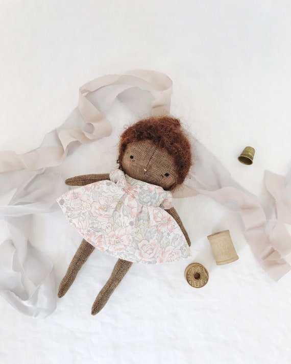 handmade cloth doll, fabric doll, linen baby doll, little girl doll