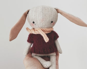 linen bunny doll with hand knit scarf and sweater - heirloom toy, softie animal doll
