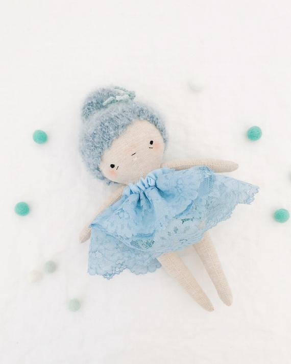 twinkle toes pip blue - heirloom doll, ballerina doll , dancer fairy sprite, soft doll