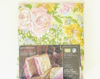 vintage print new in package bedsheet | king fitted bottom sheet | retro yellow floral