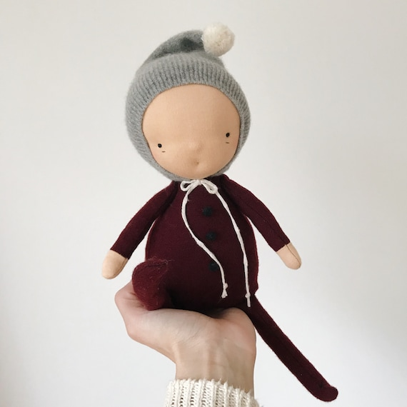 little imp waldorf doll in claret and cashmere