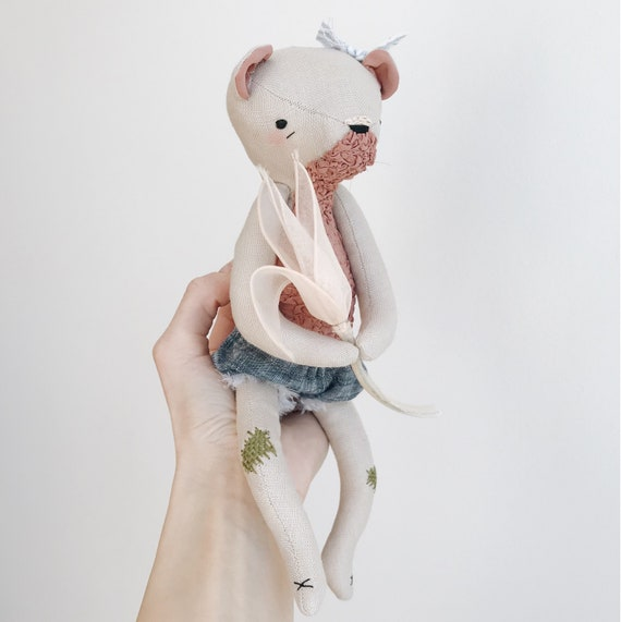 linen and silk bear spirit - soft sculpture animal