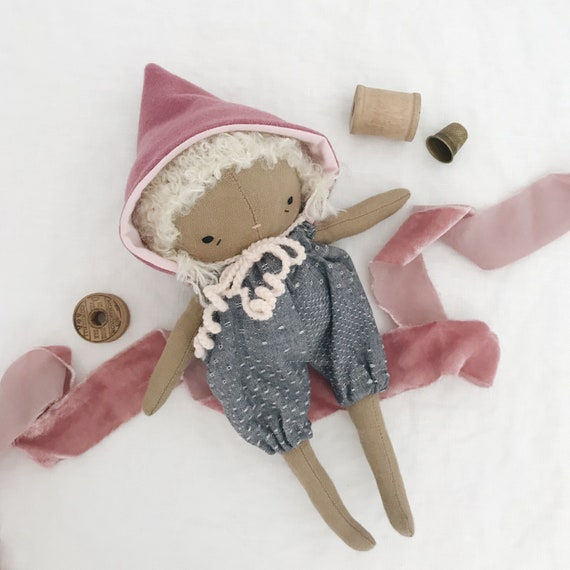handmade cloth doll, fabric doll, linen baby doll, little girl doll, heirloom doll