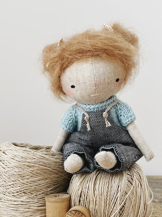 "handmade doll ""aggie"" - heirloom doll, cloth doll, toddler doll, little girl doll"