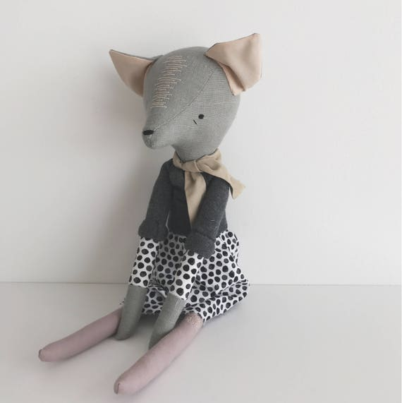 SALE - domesticated wood sprite   handmade cloth doll   polka dots and a cozy sweater