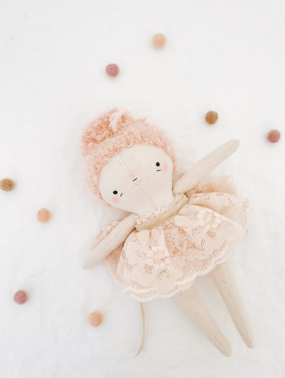 twinkle toes pip pink - heirloom doll, ballerina doll, dancer fairy sprite cloth doll