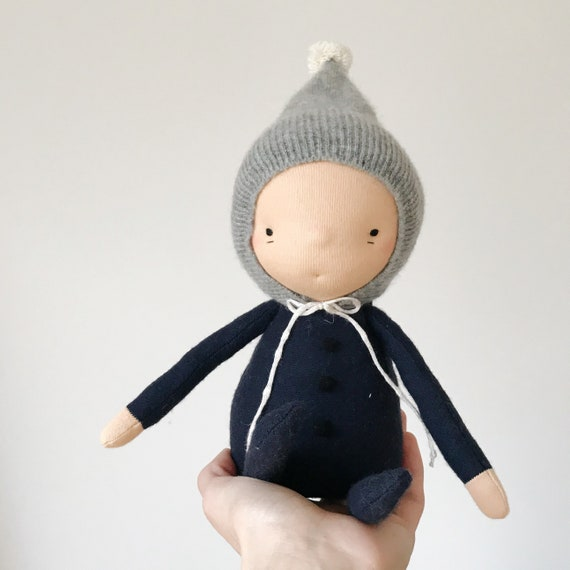 little imp waldorf doll in cadet and cashmere
