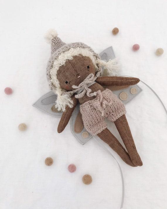 "fairy pip ""luna"" - handmade fairy doll, pixie sprite, butterfly baby, heirloom doll"