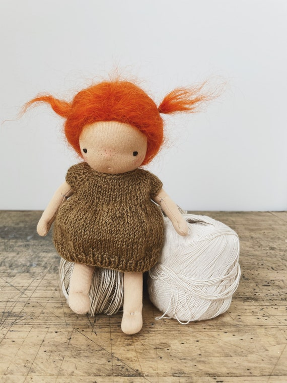 "small red head waldorf doll in hand knit dress & bloomers ""ingrid"""