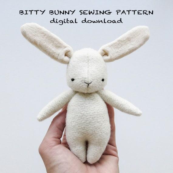 sewing pattern   bitty bunny   soft toy pdf pattern digital download