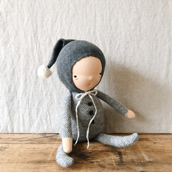 little imp waldorf doll in charcoal and cloud