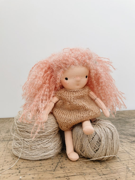 "small pink-haired waldorf doll in hand knit dress & bloomers ""pippa"""
