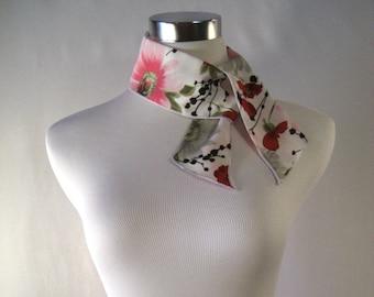 Ponytail Scarf - Headband - Necktie - Hatband - Red Poppy - Pink  Gray Flower -  Silky Satin Peachskin