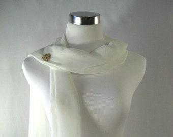 Wedding Scarf - Ivory Cream Silky Chiffon Bridal Scarf - Formal Bridesmaid Scarf - Shawl Stole Drape -Extra Long - Custom Made