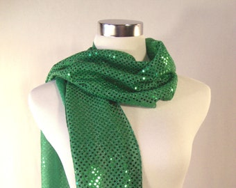 Green Sequin Party Scarf - Green Long Scarf - Green Sequin Scarf - Shiny Green Sequin Scarf - Dressy Long Scarf
