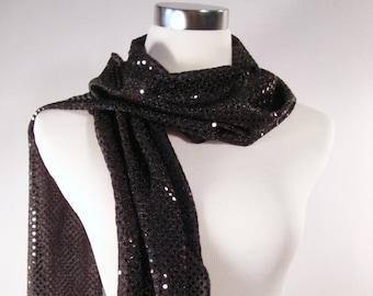 Black Sequin Party Scarf -  Scarf - Black Sequin Scarf - Shiny Black Sequin Scarf - Dressy Long Scarf - Black Sequin Wrap