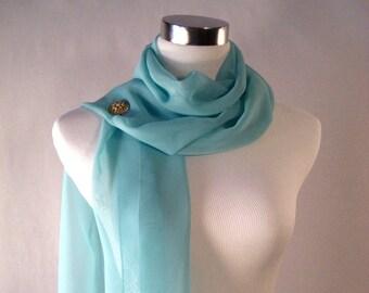 Wedding Scarf - Turquoise Silky Chiffon Bridal Scarf - Formal Bridesmaid Scarf - Stole Shawl Drape - Extra Long Scarf - Custom Made