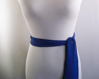 Wedding Sash - Royal Blue Silky Chiffon Bridal Sash - Long Sash Belt Tie - Formal Cobalt Chiffon Bridesmaid Belt - Multi Width - Custom Made