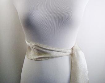 Wedding Sash - Champagne Ice Crystal Organza Bridal Sash - Extra Long Sash Belt Tie - Formal Bridesmaid Belt - Multi Width - Custom Made