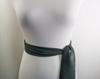 Wedding Sash - Hunter Green Silky Chiffon Bridal Sash - Extra Long Sash Belt Tie - Forest Green Chiffon Sash - Multi Width - Custom Made
