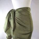 Mini Sarong - Short Pareo - Crinkled Silky Satin - Olive Green Sarong - Swimsuit Cover up - Beach Skirt - Beachwear