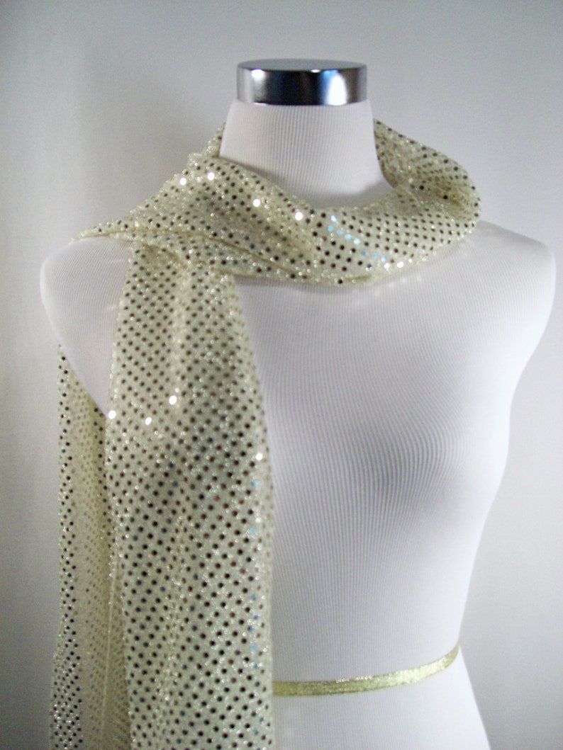 Sequin Scarf Champagne Sequin Party Scarf  Champagne Sequin image 0