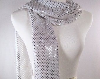 Holiday - Silver Party Scarf -  Scarf - Silver Sequin Scarf - Shiny  Silver Sequin Scarf - Dressy Long Scarf - Silver Sequin Wrap