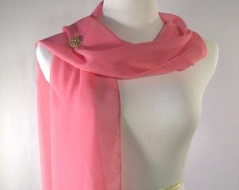 SALE Wedding Scarf - Medium Rose Pink Bridal Scarf - Medium Rose Pink Chiffon Scarf