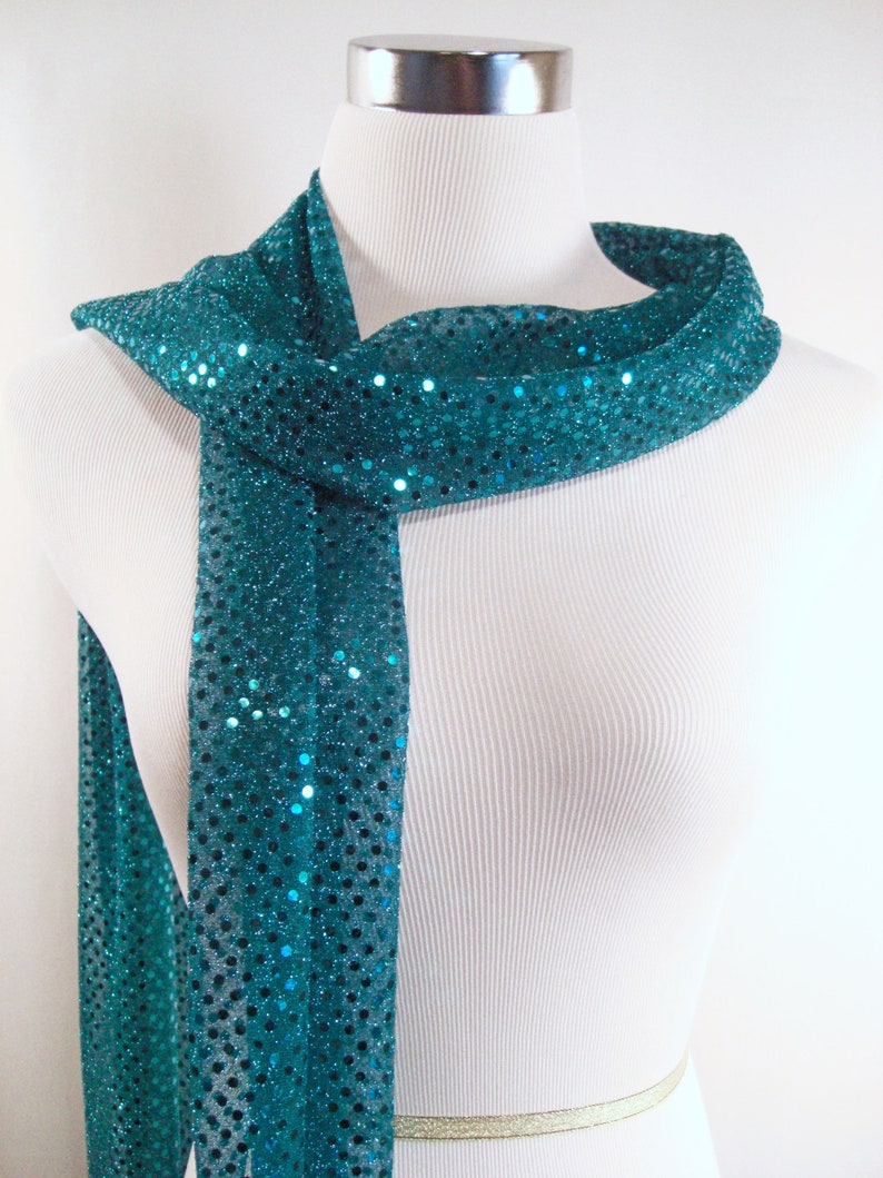 Sequin Scarf Teal Sequin Party Scarf  Teal Sequin Scarf  image 0