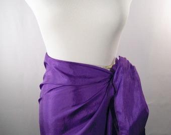 Mini Sarong - Short Pareo - Crinkled Silky Satin -  Royal Purple Sarong - Swimsuit Cover up - Beach Skirt - Beachwear