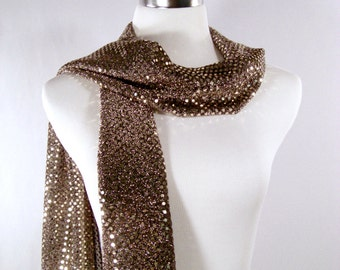 Gold Sequin Party Scarf - Gold on Black Long Scarf - Gold Sequin Scarf - Shiny Gold Sequin Scarf - Dressy Long Scarf - Gold Sequin Wrap