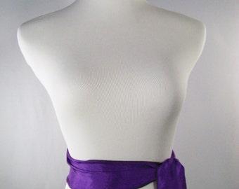 Royal Purple Satin Sash  - Purple Belt - Silky Satin Tie - Shiny Purple Crinkled Silky Satin - Multi Width