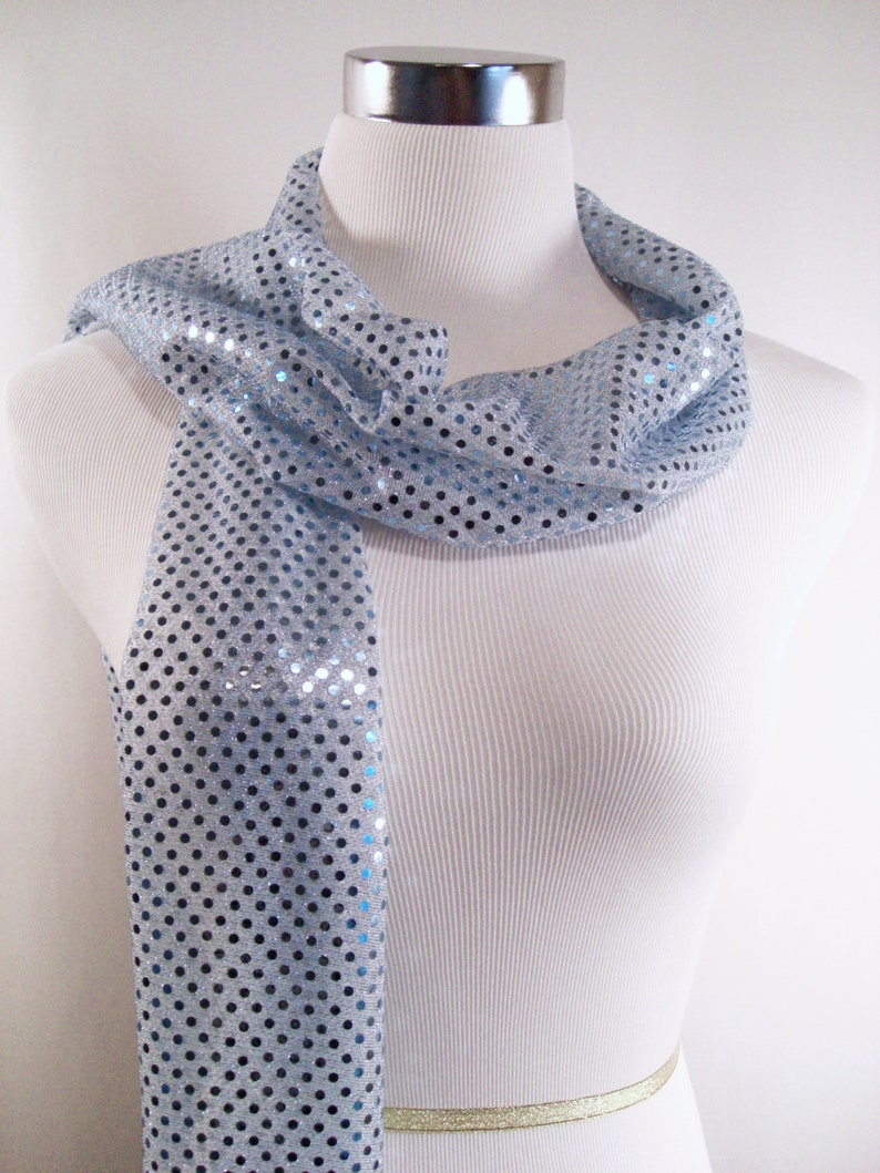 Sequin Scarf Light Blue Sequin Party Scarf  Baby Blue Sequin image 0