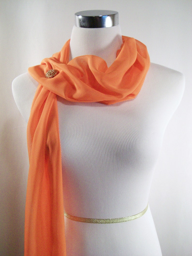 Bridal Scarf  Tangerine Orange Silky Chiffon Wedding Scarf  image 0