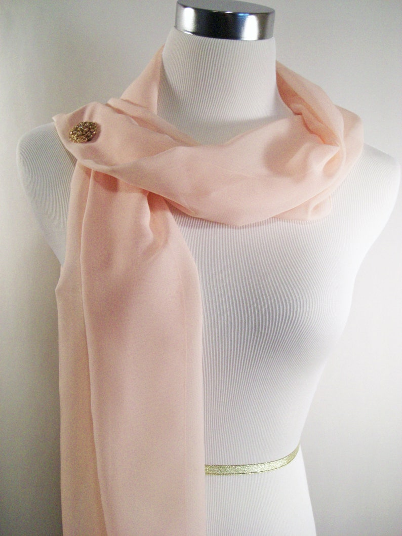 Bridal Scarf  Soft Peach Scarf  Peach Bridesmaid Scarf  image 0