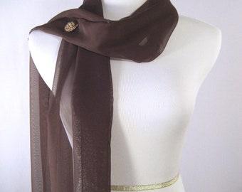 Wedding Scarf - Chocolate Brown - Bridal Scarf - Bridesmaid Scarf - Evening Wrap - Extra Long Dark Brown Silky Chiffon