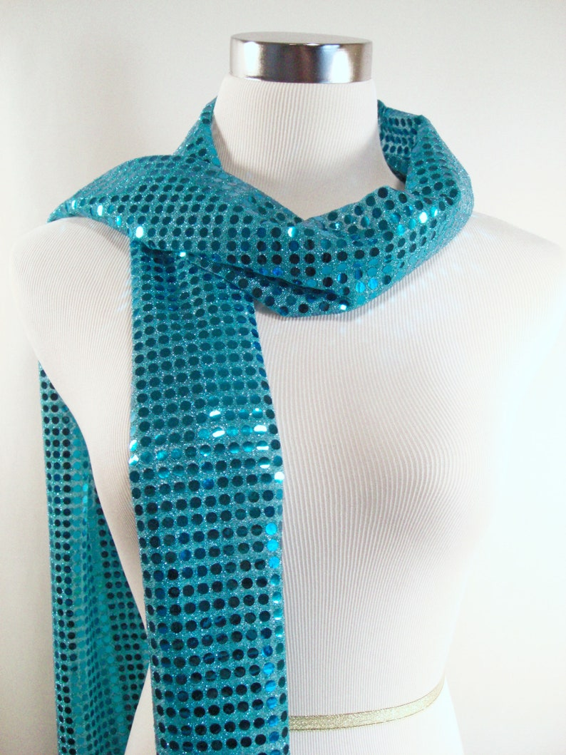 SALE  Turquoise Large Sequin Party Scarf  Dark Turquoise image 0