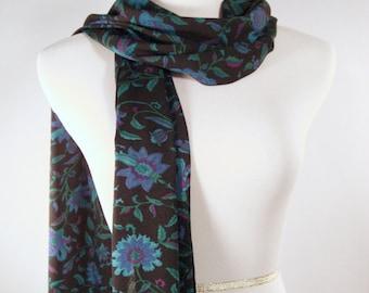 Long  Scarf - Silky Crepe Scarf - Blue Black Green Purple Floral Print Scarf - Multi Color Floral Leaf Print Scarf - Dressy Scarf