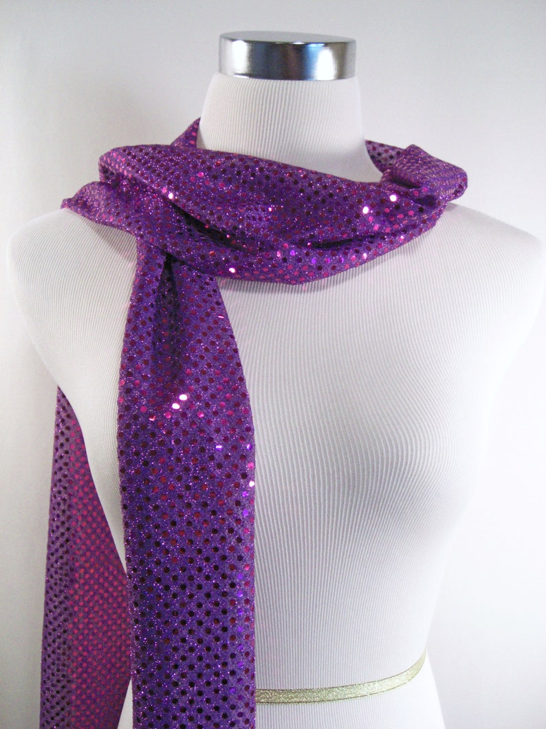 Sequin Scarf Purple Sequin Party Scarf  Purple-Magenta image 0