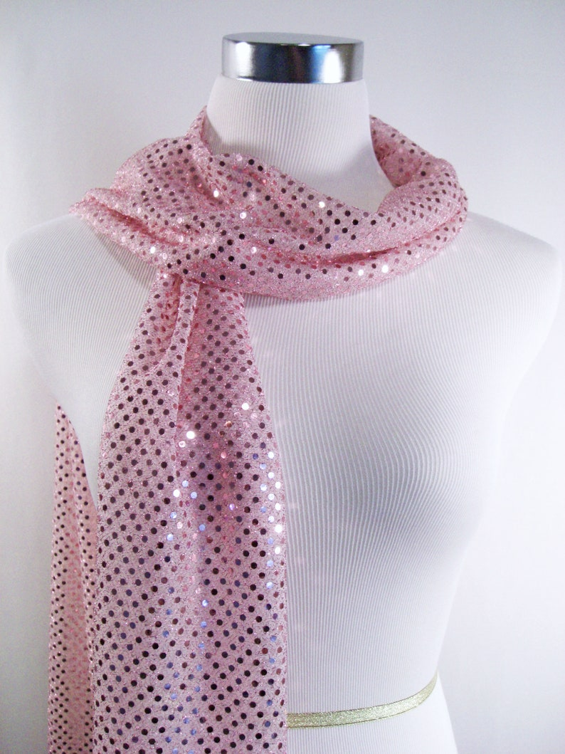 Sequin Scarf Pink Sequin Party Scarf  Pink Sequin Scarf  image 0