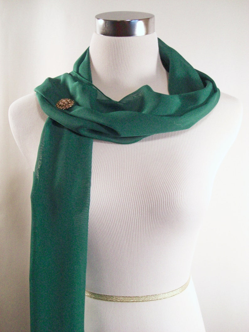 Wedding Scarf  Kelly Green Silky Chiffon Bridal Scarf  image 0
