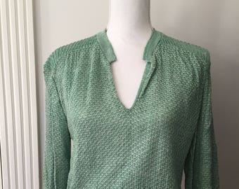 Vintage Sweater, Rayon Knit Pullover Sweater Size Large, Green Tweed Sweater, 60s Sweater, V Neck Sweater Made in USA, Garland Sweater
