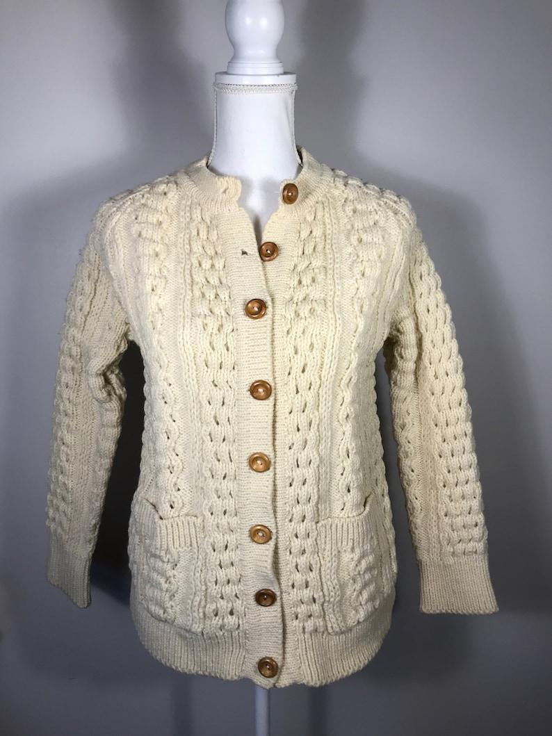 594ad081f7e John Molloy Hand Knit Cabled Irish cardigan Size 36, Boyfriend Sweater,  Hand Knit Sweater, Irish Aran Fisherman Sweater