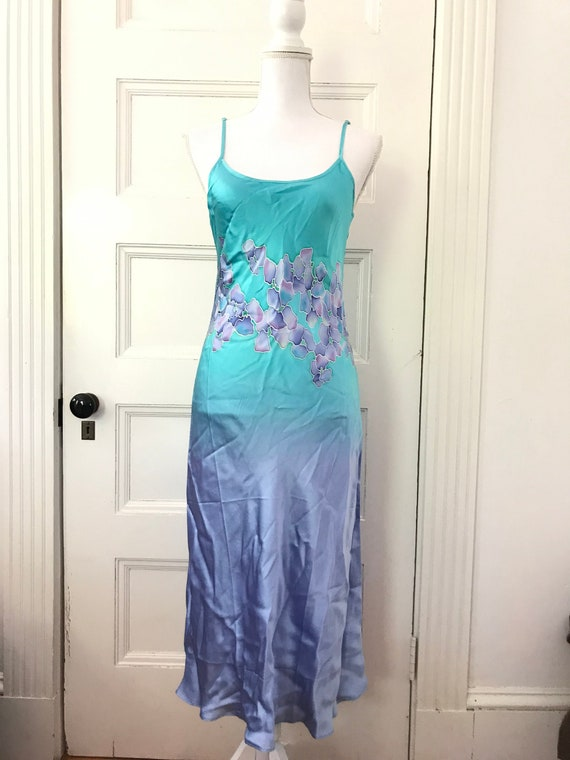 Hand Painted Bias Cut Silk Slip Dress, Hand Painte