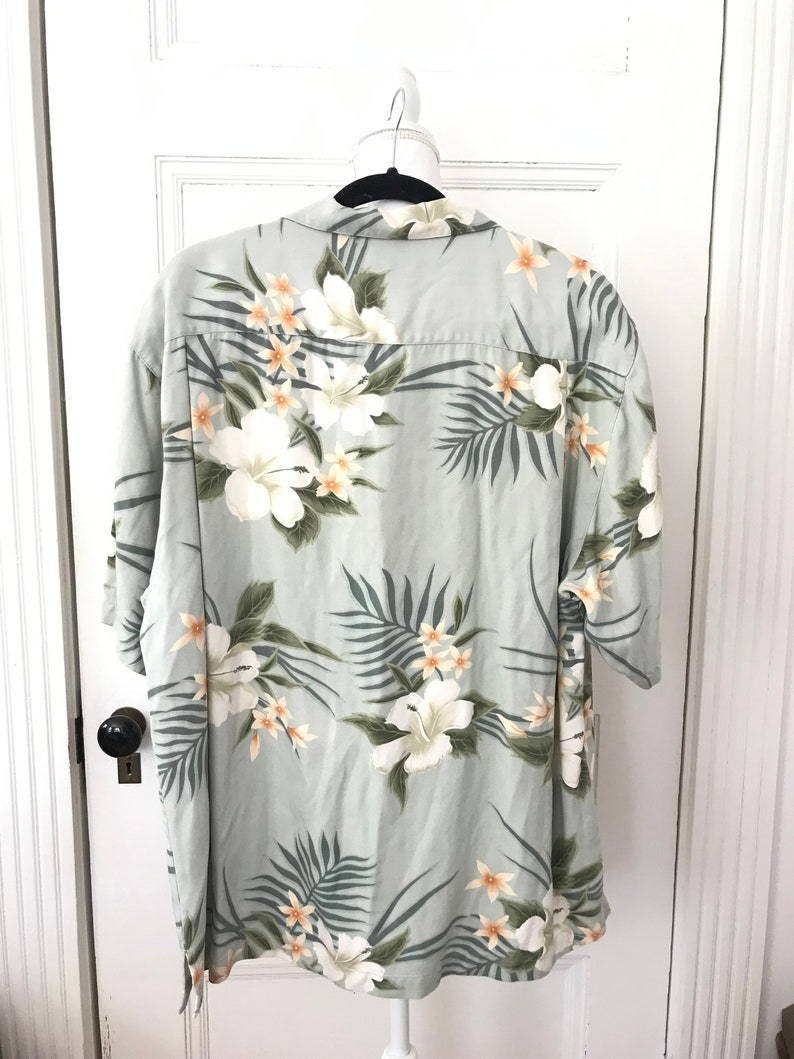 Hipster Shirt Silk Hawaiian Shirt Size L Floral Shirt Tommy Bahama Tropical Shirt Vintage Silk Hawaiian Shirt Sage Green Silk Shirt