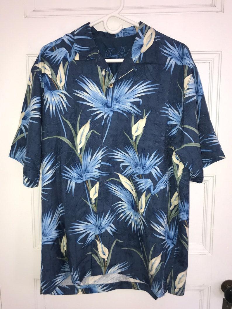 9ca794a2 Vintage Silk Hawaiian Shirt Tommy Bahama Silk Shirt Blue | Etsy