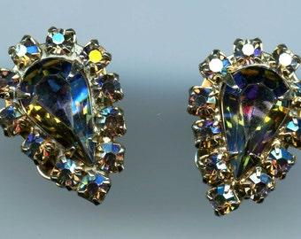 On Sale, Aurora Borealis, Earrings, Rhinestones, clip-on earrings, gold toned,crystal, 1960s, mad men era,  Prong Set Earrings,