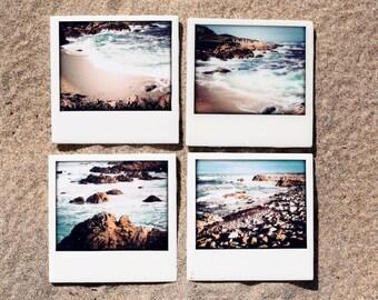 Coasters California Beach - Set of 4 Ceramic Coasters, Beach Cottage Decor, 17-mile Drive - robin's egg blue, muted