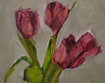 TULIPS FLORAL FLOWER Giclee Print Art Colette Davis 4x4 Painting Oil